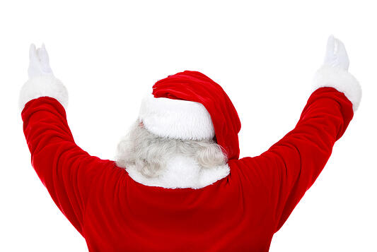 Back of excited Santa Claus isolated over a white background