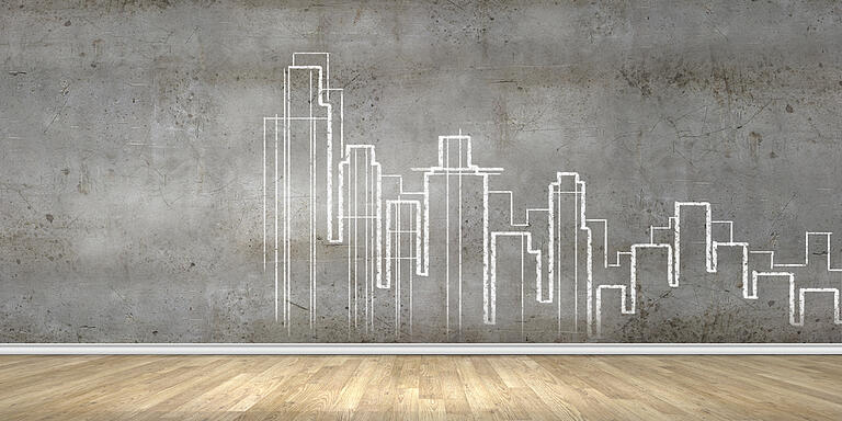 Background image with urban construction sketch on grey background