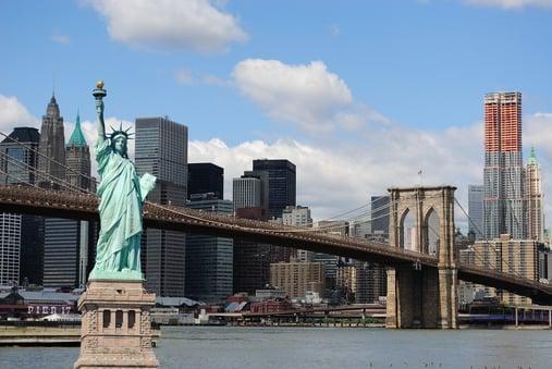 The landmark Statue of Liberty against the impressive New York City skyline.-1